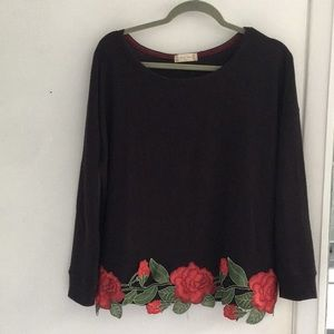 Embroidered alterd state black sweater